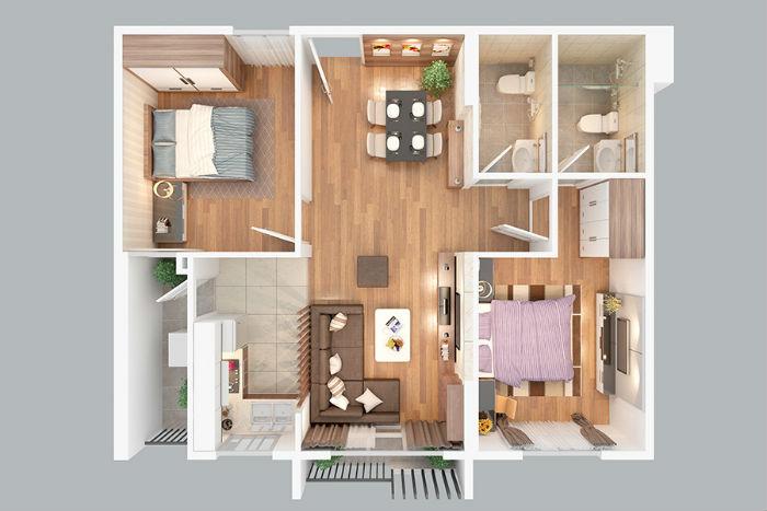 Thiết kế căn hộ 70m2