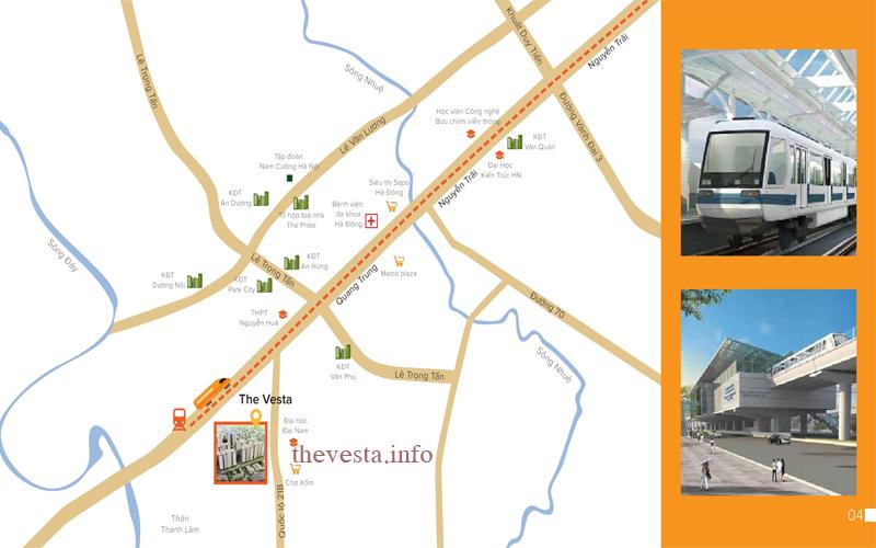 Vị trí The Vesta Phú Lãm Hà Đông