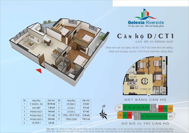 Mặt bằng và thiết kế căn hộ chung cư Gelexia Riverside 885 Tam Trinh