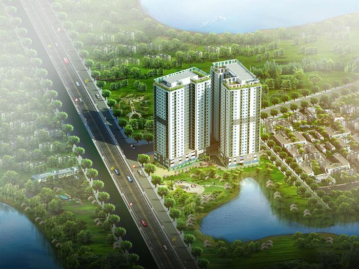 Phối cảnh chung cư Hateco Hoàng Mai nhìn từ hồ Yên Sở