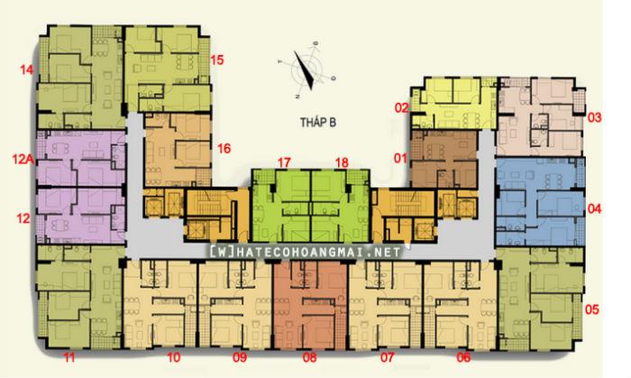 Mặt bằng tổng thể căn hộ toà B dự án Hateco Hoàng Mai