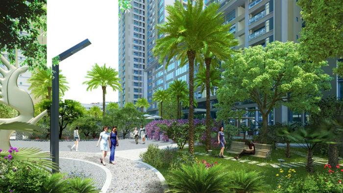 Khuân viên cây xanh tại gelexia Riverside