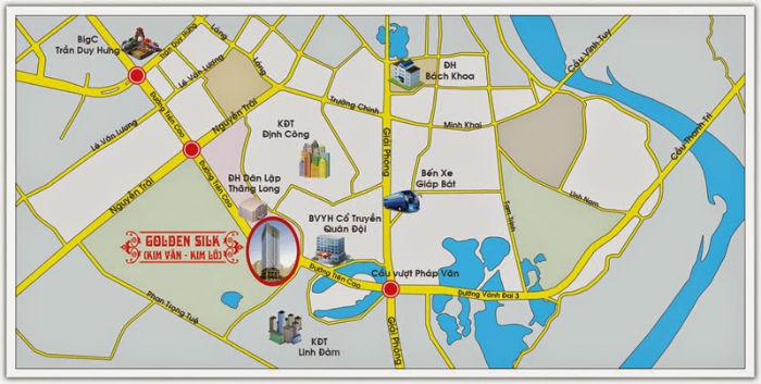 Vị trí chung cư Kim Văn Kim Lũ Tòa B – VC2 Golden Heart