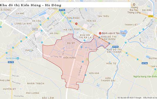 Vị trí khu đô thị Kiến Hưng Hà Đông Google Map